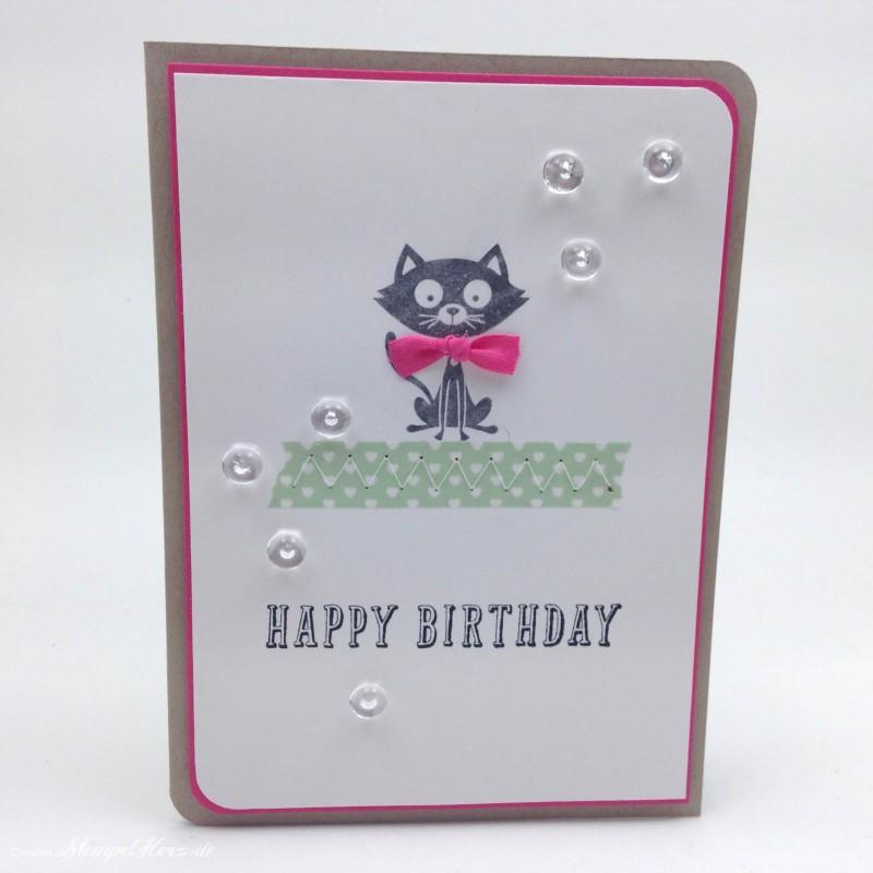 Stampin Up - Stempelherz - Geburtstagskarte - Poesie auf vier Pfoten - Peace, Love & Cupcakes - Karte Happy Birthday Kitty 02