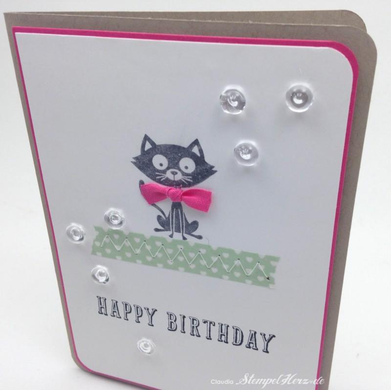 Stampin Up - Stempelherz - Geburtstagskarte - Poesie auf vier Pfoten - Peace, Love & Cupcakes - Karte Happy Birthday Kitty 03