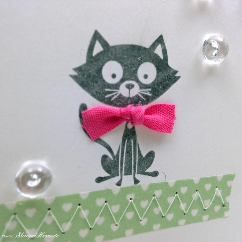 Stampin Up - Stempelherz - Geburtstagskarte - Poesie auf vier Pfoten - Peace, Love & Cupcakes - Karte Happy Birthday Kitty 06