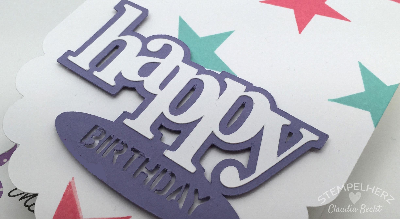 Stampin Up - Stempelherz - Geburtstagskarte - Silhouette Cameo - Wimpeleien 04a