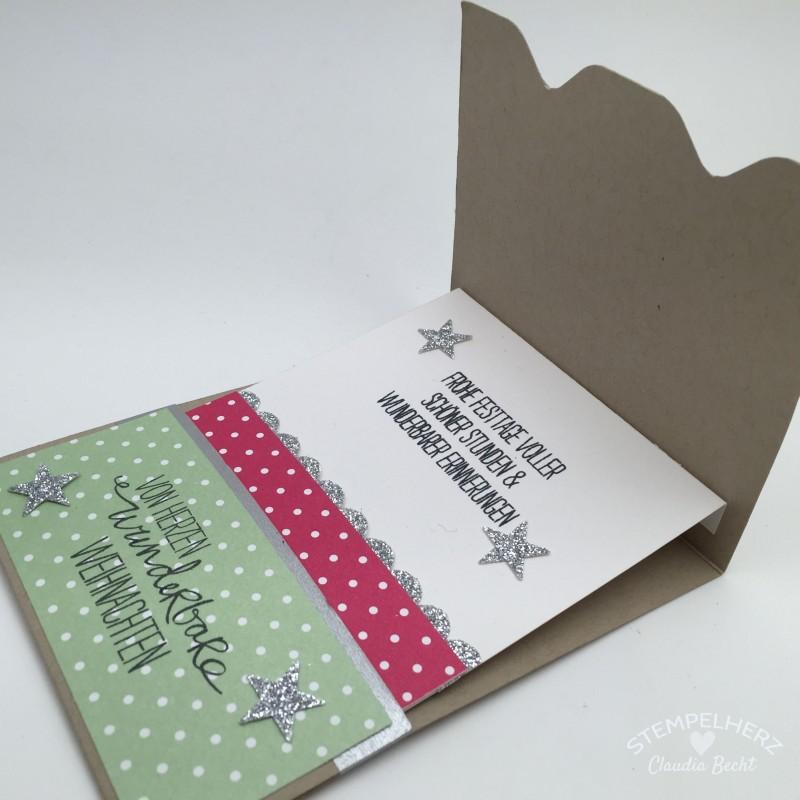 Stampin Up - Stempelherz - Gutscheinkarte - Karte - weihnachtiche Karte - Envelope Punchboard - Stempelset Willkommen Weihnacht - Stanze Wellenkante - Framelits Willkommen Weihnacht 03