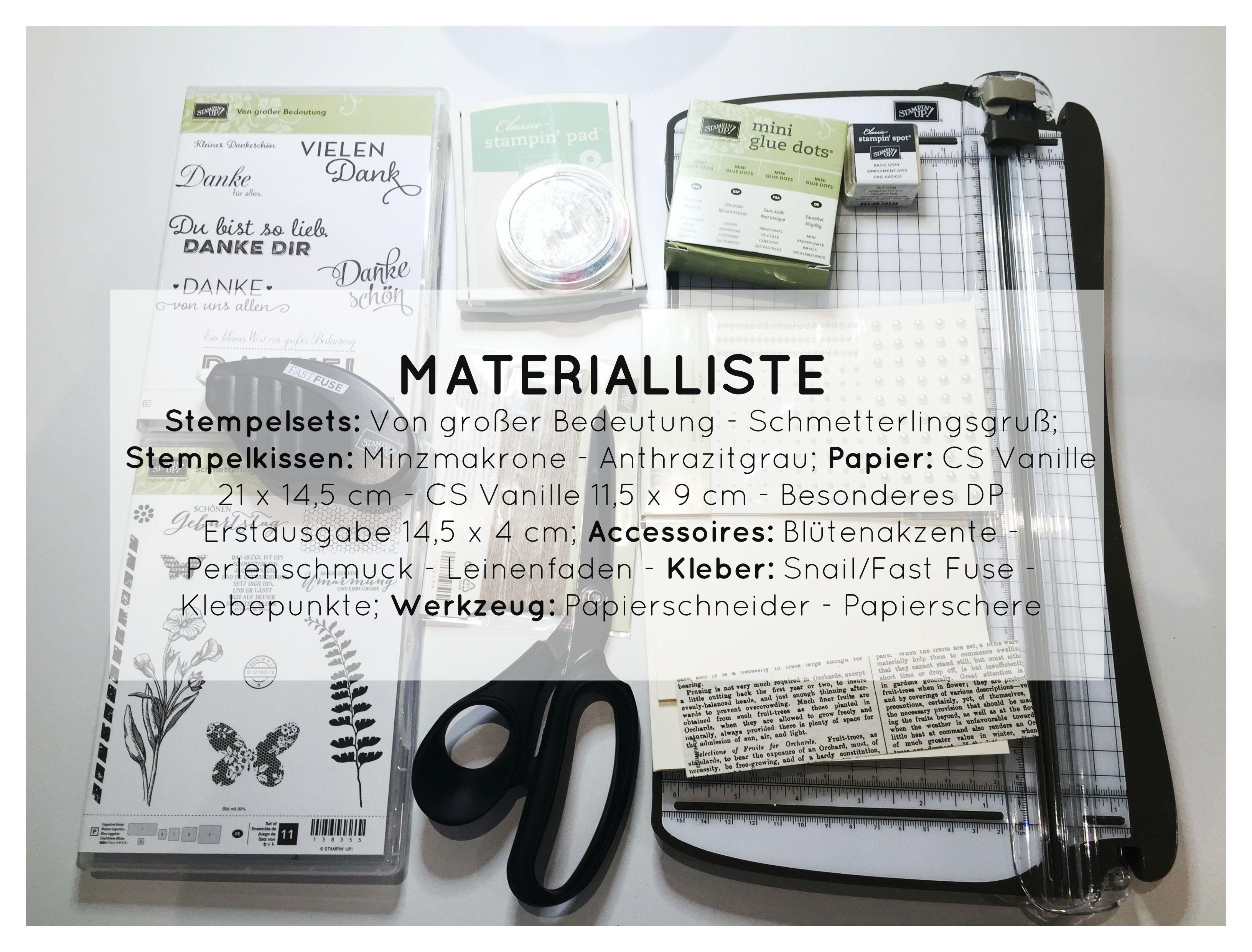 Stampin Up-Stempelherz-Dankeskarte-Zeig es am Montag Karte Danke Anleitung - Materialliste