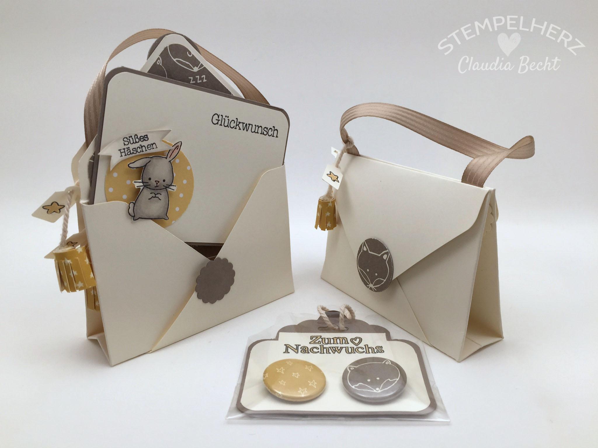 Stampin Up-Stempelherz-Double Pocket Card-Babykarte-Geschenkidee Geburt-Zum Nachwuchs-Double Pocket Card Zum Nachwuchs 02b