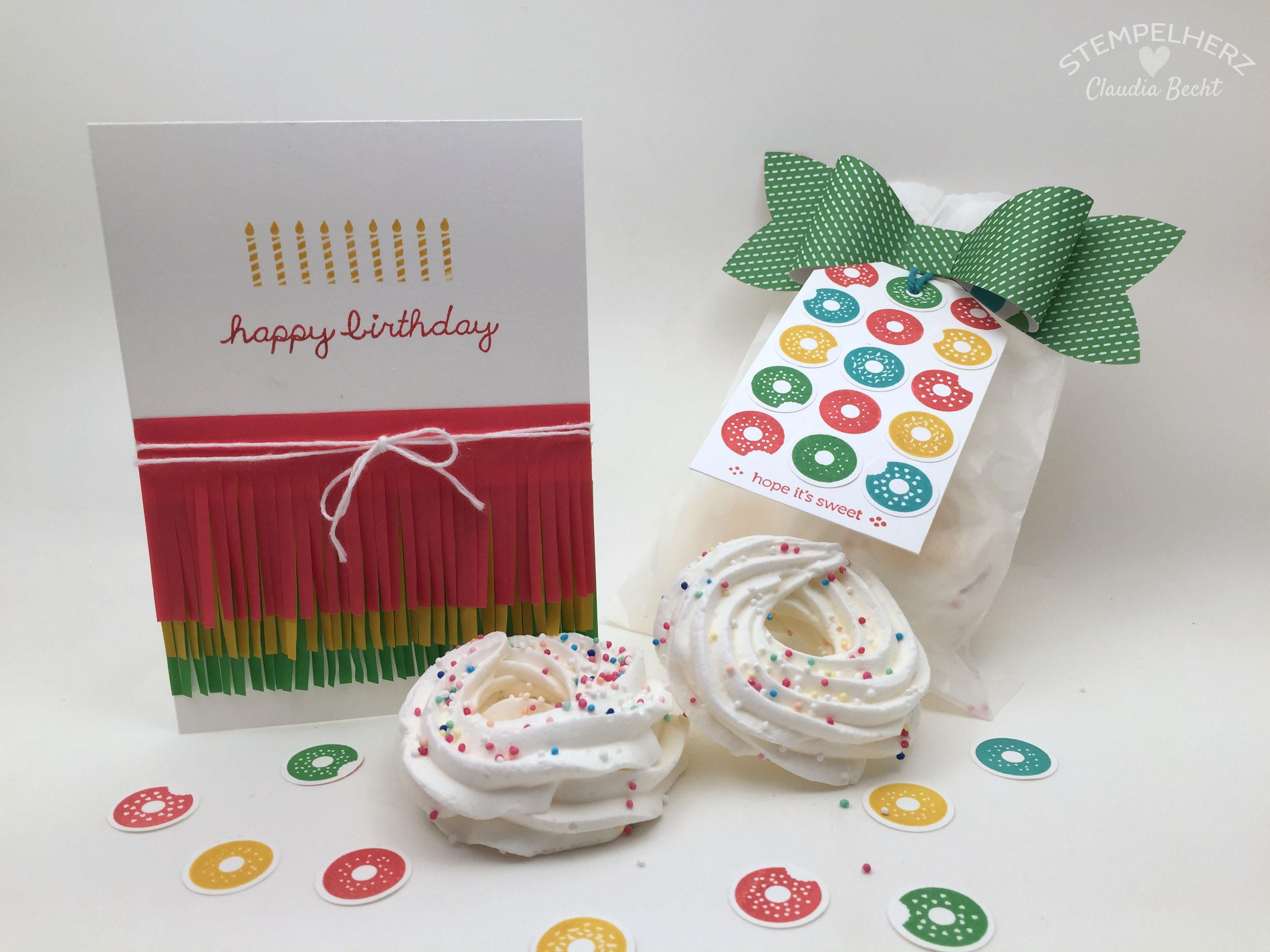 Stampin Up-Stempelherz-Geburtstag-Verpackung-Bag-Geburtstagskarte-Zeig es am Montag Geburtstagsset Sprinkles on Top 34.2b