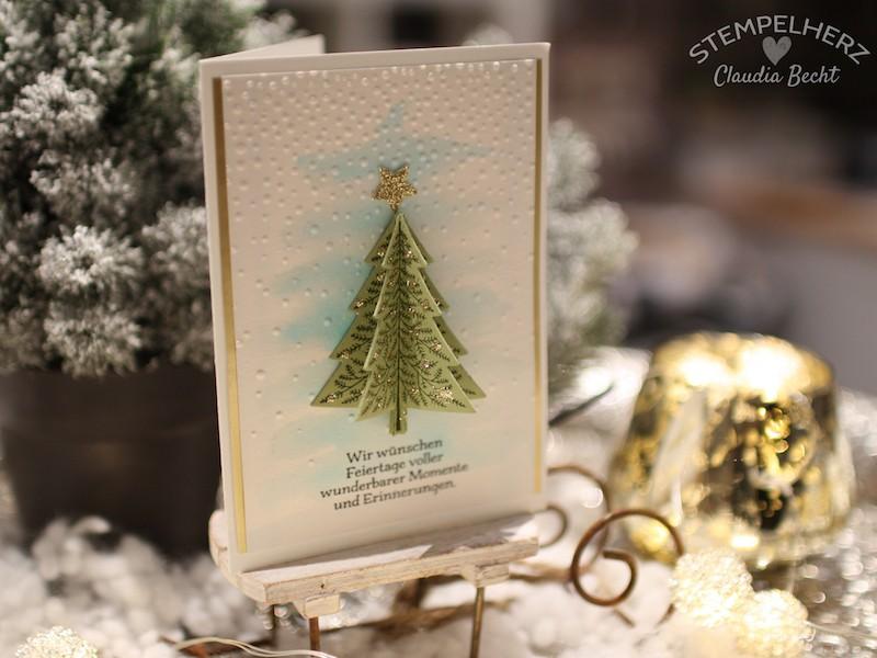 Stampin Up - Stempelherz - Weihnachtskarte - Aquarelltechnik - Produktpaket O Tannenbaum - Weihnachtskarte O Tannenbaum 01