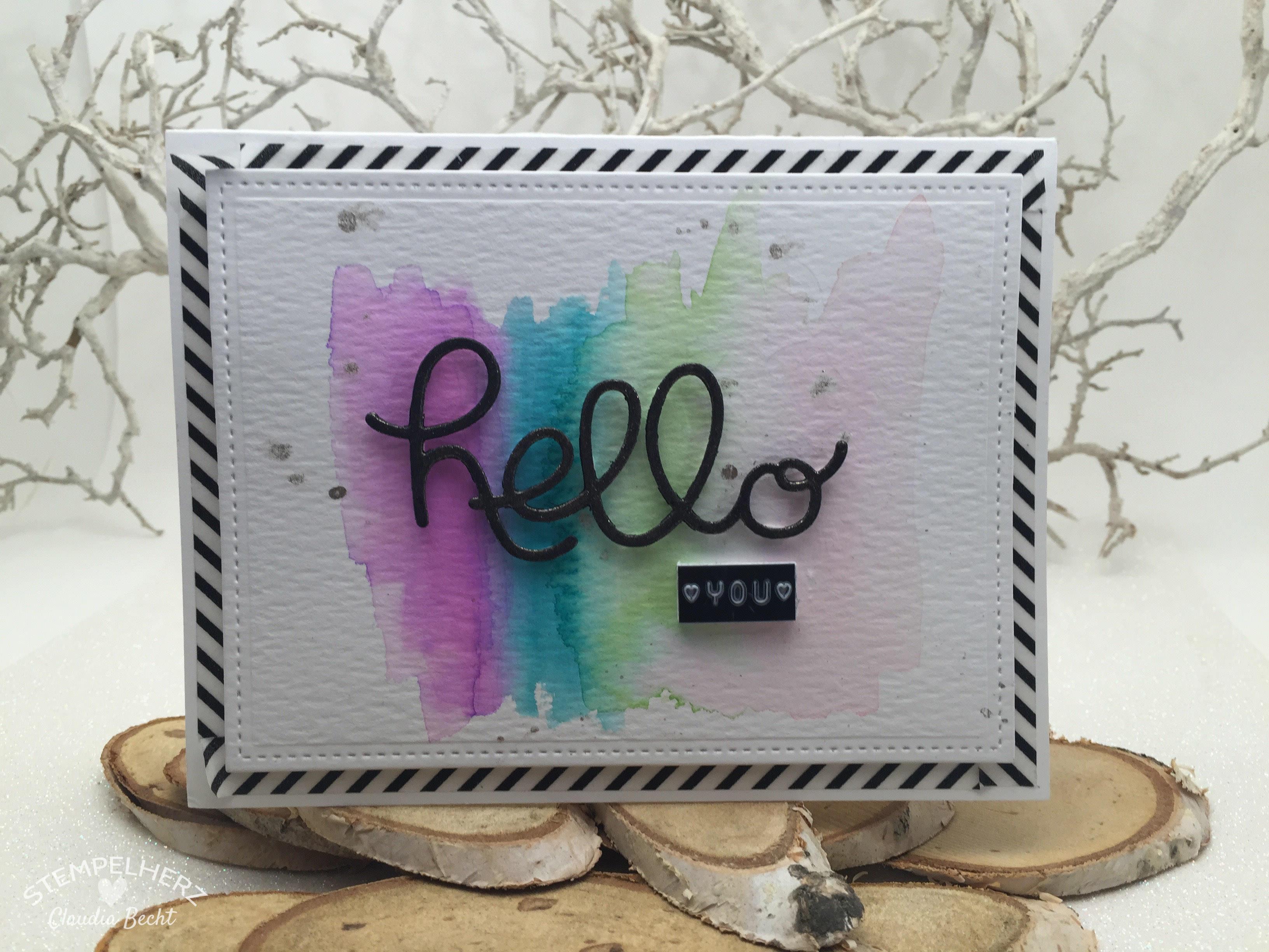 Stampin Up - Stempelherz - Grußkarte - Hello You - Aquarell - Watercolor - Grußkarte Hello You 01