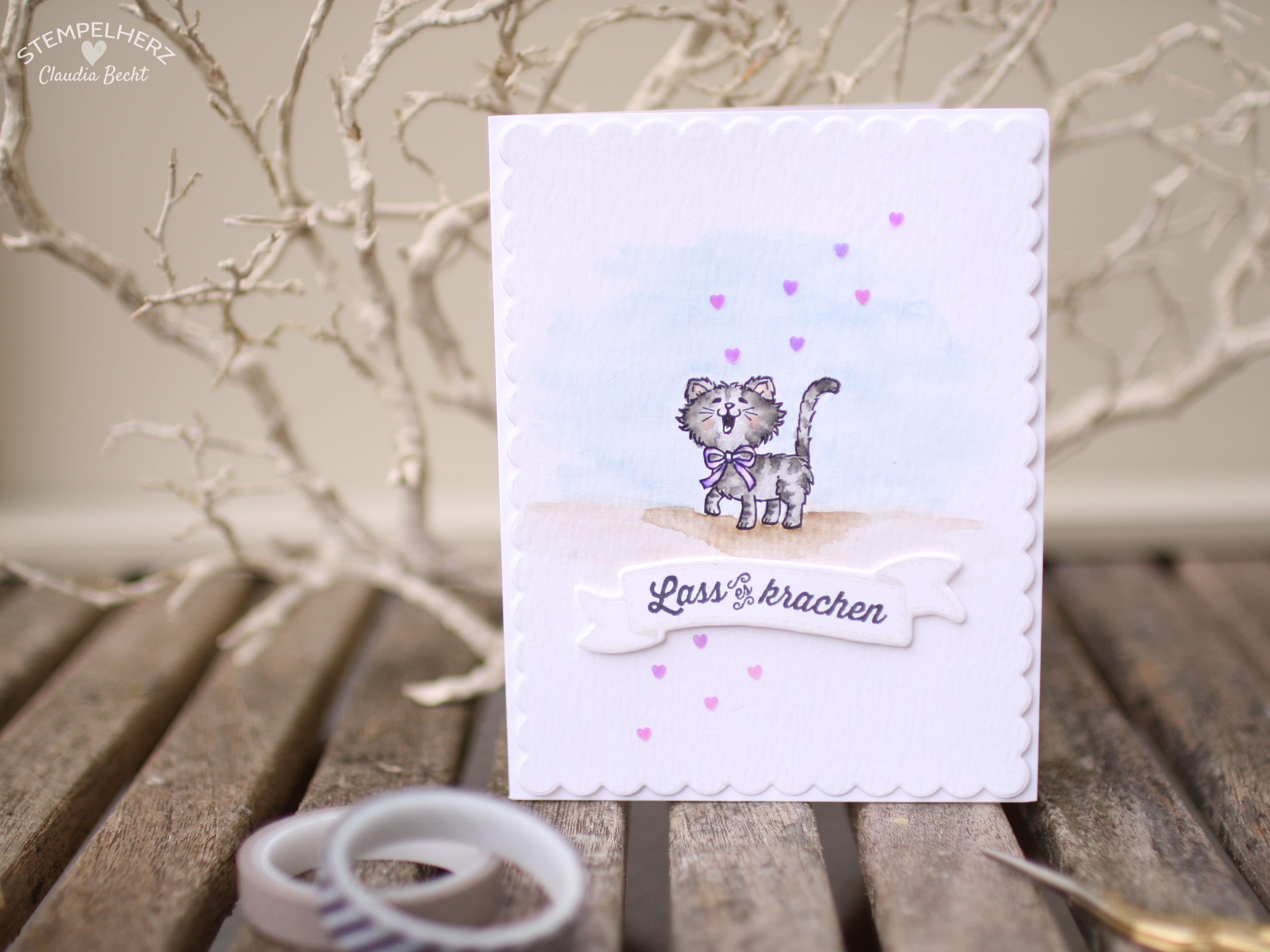 Stampin Up - Stempelherz - Geburtstagskarte - Aquarrell - Stempelset Geburtstagsbanner - Stempelset Pretty Kitty - Geburtstagskarte Lass es krachen 02