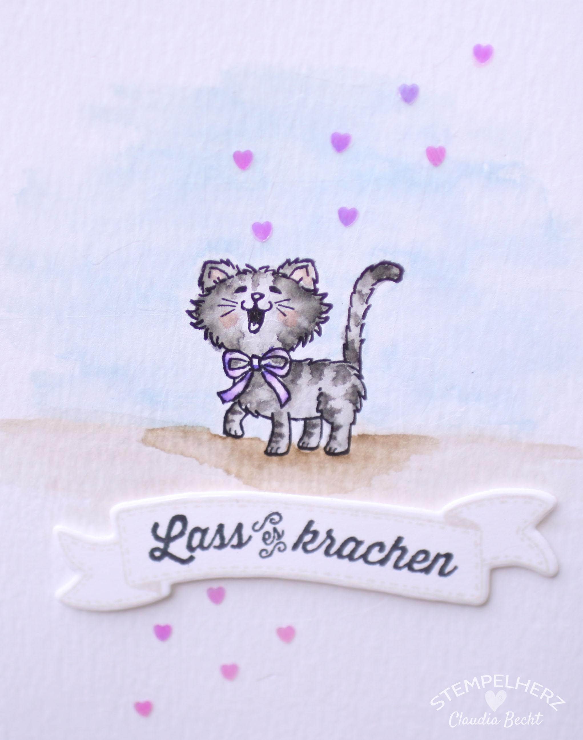 Stampin Up - Stempelherz - Geburtstagskarte - Aquarrell - Stempelset Geburtstagsbanner - Stempelset Pretty Kitty - Geburtstagskarte Lass es krachen 04