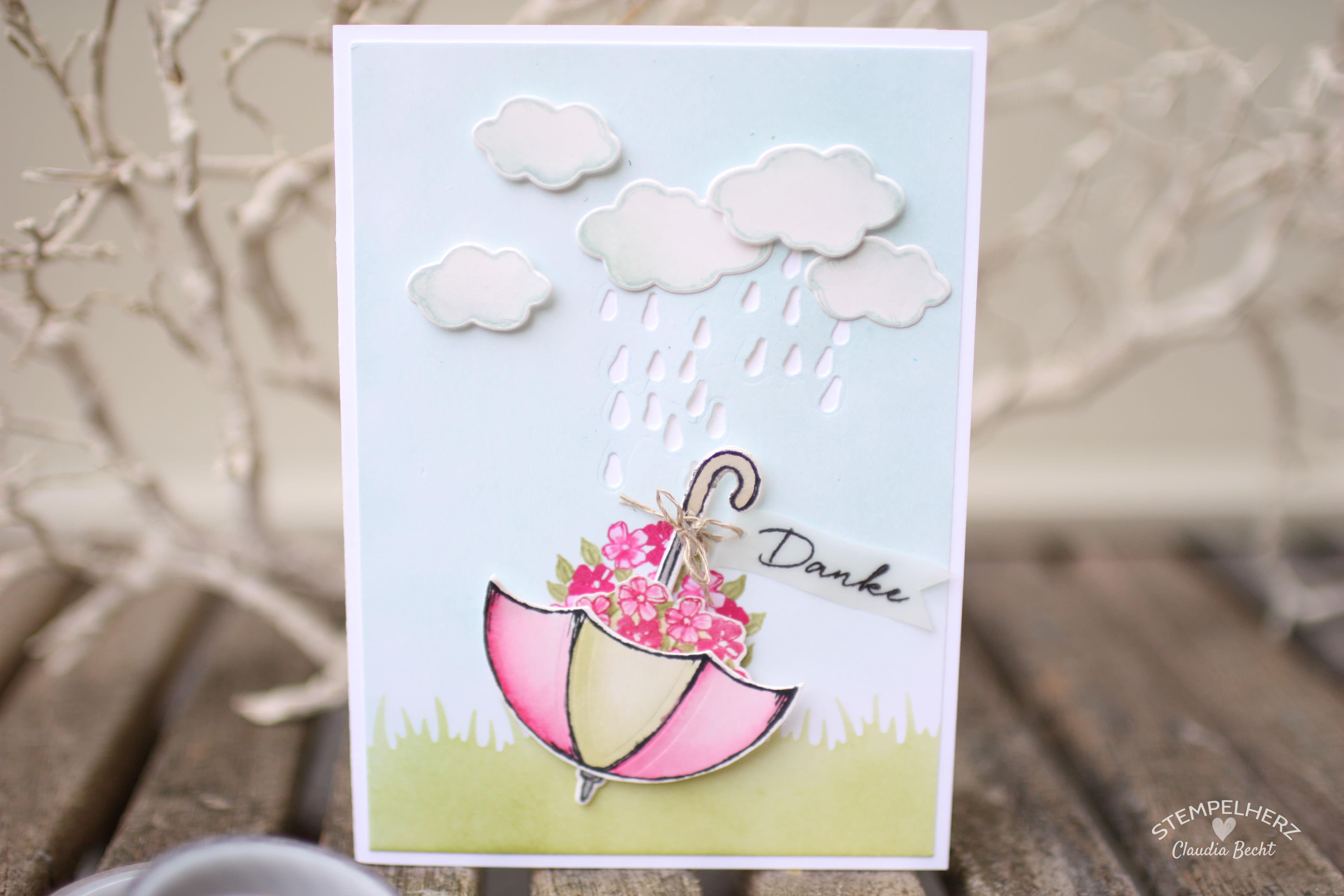 Stampin Up - Stempelherz - Grußkarte - Dankeskarte - Stempelset Donnerwetter - Regenschirm auf dem Kopf 01
