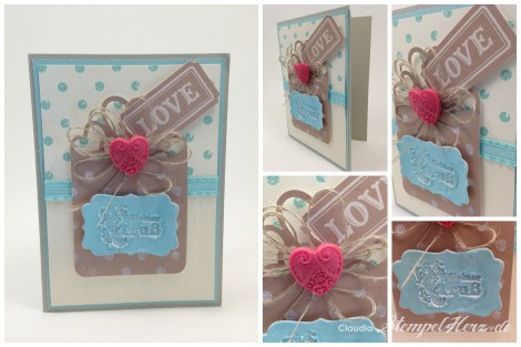 Stampin Up - Stempelherz - Grußkarte - CS Saharasand - CS Vanille - Kreativ-Set Accessoires - Stempelset Wort-Kunst - Stempelset Distressed Dots - Embossing - Aquamarin - Leinenfaden - Collage