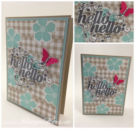 Stampin Up - Stempelherz - Hello, hello - Grußkarte - Butterfly - Secret Garden - Gingham Collage b