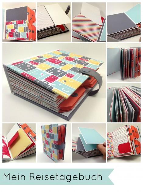Stampin Up - Stempelherz - Album - Minibook - Designerpapier Meine Welt - Reisetagebuch Collage b