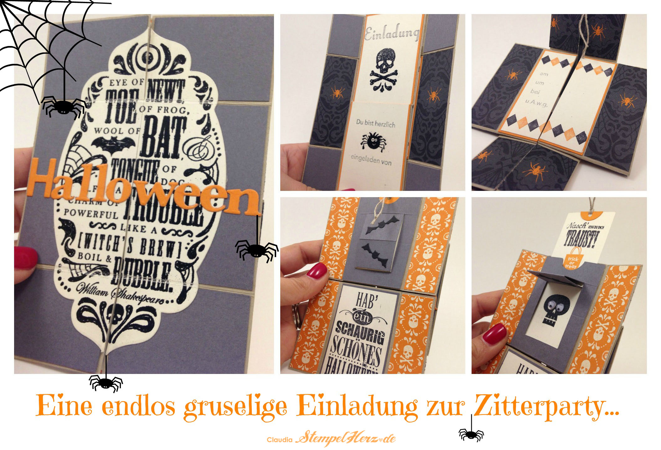Stampin Up   Stempelherz   Einladungskarte   Halloween   Endloskarte    Neverending Card   Toil U0026