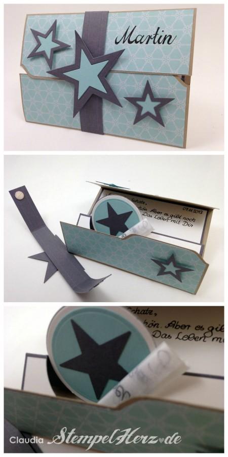 Stampin Up - Stempelherz - Geburtstagskarte - Umschlagfalzbrett - Thinlits Form Pop up Karte Kreis Collage