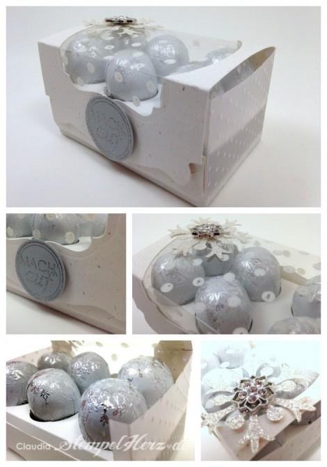Stampin Up - Stempelherz - Pop'n Cuts Grundkarte - Tafelrunde - Verpackung - Box Schneebaelle Collage