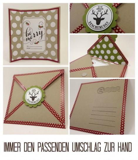 Stampin Up - Stempelherz - Weihnachtskarte - Endloskarte - Stempel Be Merry - Stempelset Auf die Geschenke, fertig, los -  Collage b