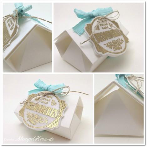 Stampin Up - Stempelherz - Origami - Verpackung - Schachtel - Haus - Geschenk - Origamischachtel Haus Collage a