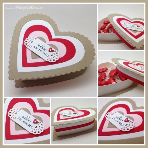 Stampin Up - Stempelherz - Schachtel - Verpackung - Herzschachtel - Valentine - Valentinstag - Geschenk - Etwas ganz Besonderes - Herzschachtel Denk an Dich Collage