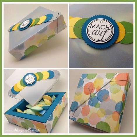 Stampin Up - Stempelherz - Tafelrunde - Framelits Formen Feuerwerk - DP Farbenwunder - Geschenkverpackung Mach auf Collage