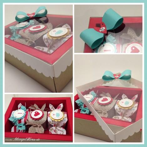 Stampin Up - Stempelherz - Verpackung - Knallbonbons - DP im Block - Frisch & farbenfroh - Verpackung drei Knallbonbons Collage