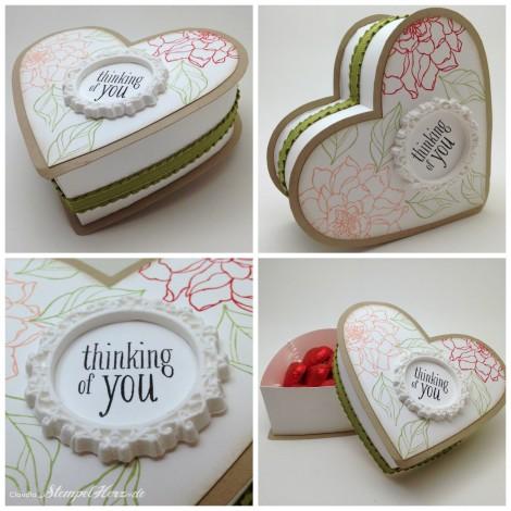 Stampin Up - Stempelherz - Verpackung - Schachtel - Box - Herz - Valentine - Valentinstag - Geschenk - Peaceful Petals - Herzschachtel thinking of you Collage