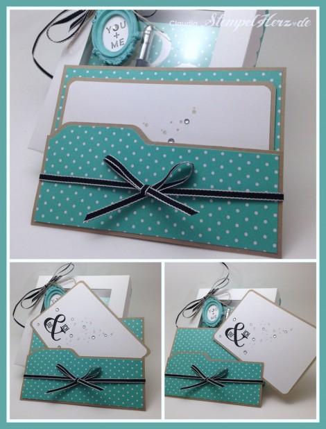 Stampin Up - Stempelherz - Wimpeleien - Gorgeous Grunge - Umschlagstanz- und Falzbrett - Karte zur Verpackung Notizblock Collage b