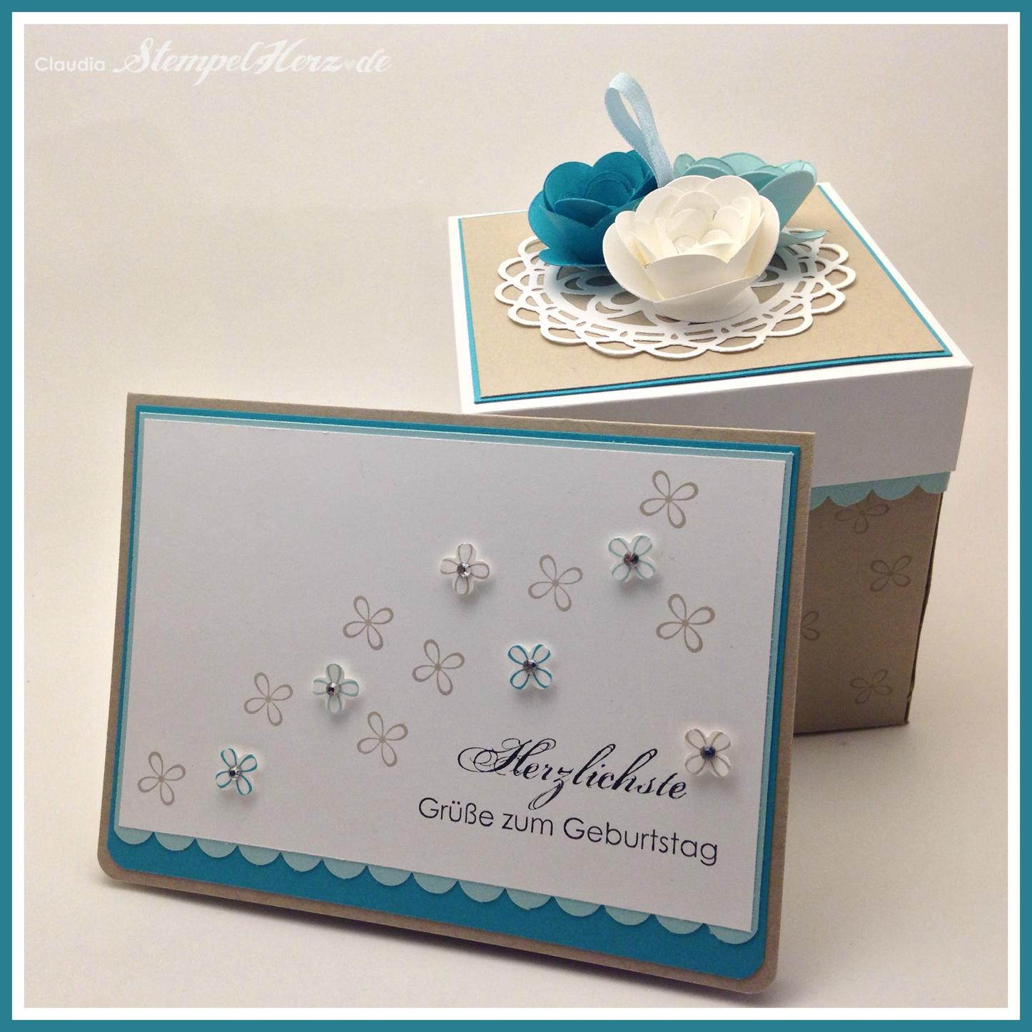 Geburtstagskarte zur Verpackung mit Rosen