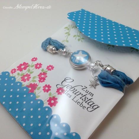 Stampin Up - Stempelherz - Schmuckverpackung - Armband - Geschenk - Glas Cabochon - Naturnah - Schmuckverpackung Wickelarmband 0b