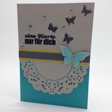 Stampin Up - Stempelherz - Grußkarte - Schmetterling - Butterfly - Doily - Eine Karte nur fuer dich 01