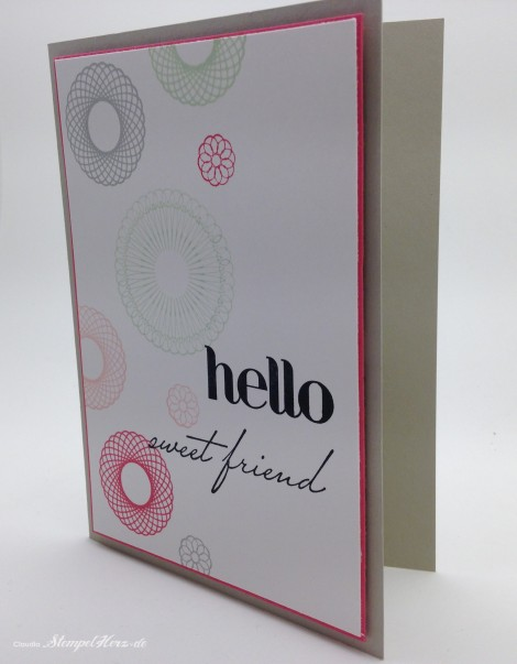 Stampin Up - Stempelherz - Grußkarte - Spiral Spins - Hello you - Four You - Karte Hello sweet friend 01