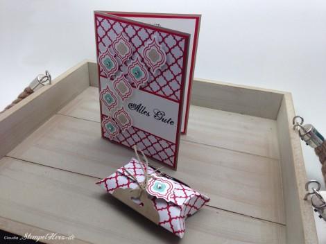 Stampin Up - Stempelherz - Mosaic Madness - Geburtstagskarte - Pillowbox - Stanze Gewellter Anhaenger - Geburtstagsset Alles Gute 01