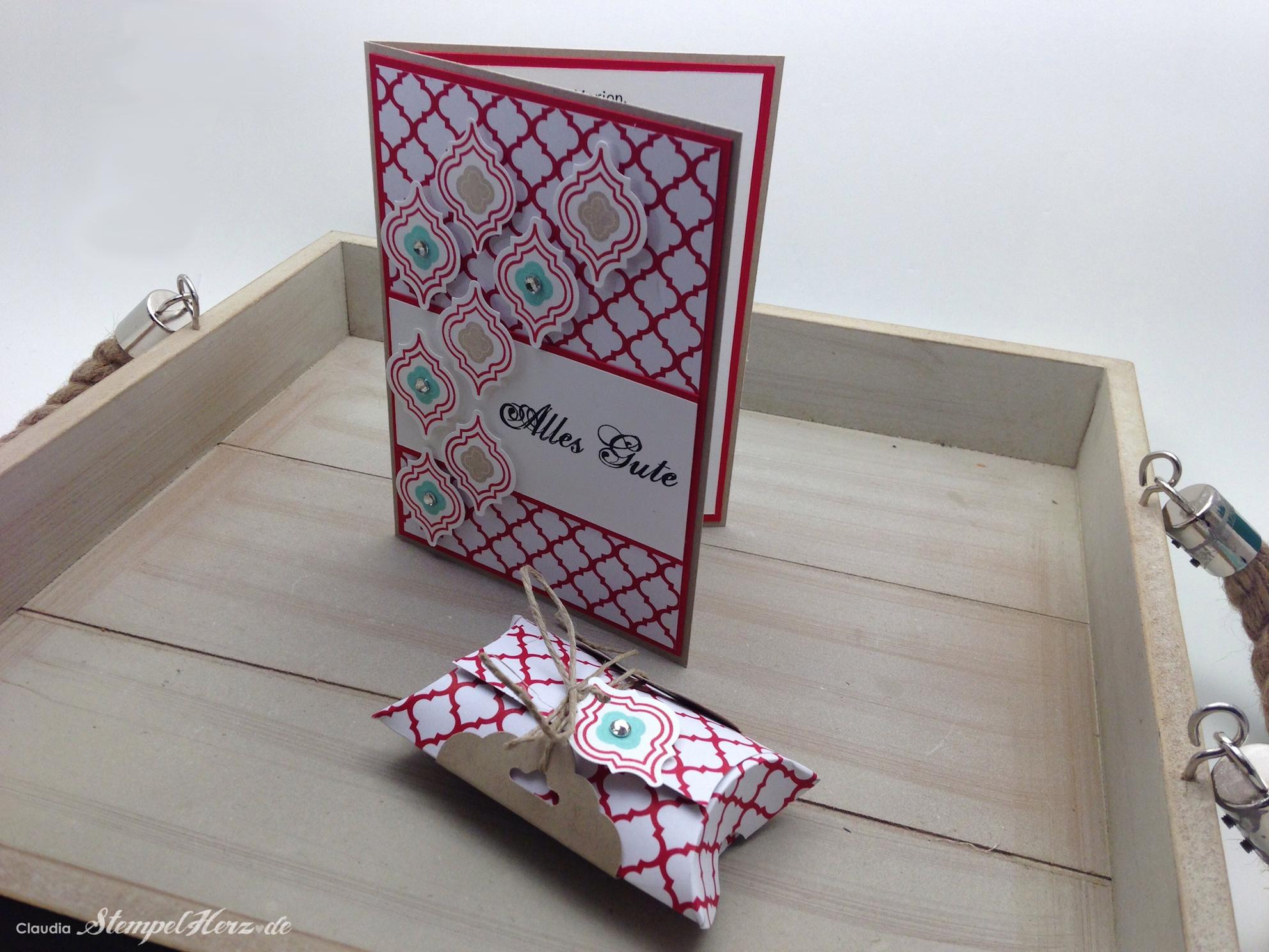 """Geburtstagskarte & Pillow Box """"Alles Gute"""""""
