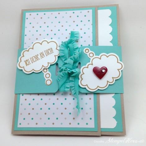 Stampin Up - Stempelherz - Grußkarte - Ganz schoen aufgeblasen - Framelits Sprechblasen - Grußkarte Ich denk an dich 01