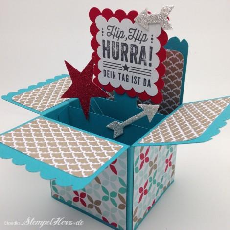Stampin Up - Stempelherz - Kartenbox - Geburtstagskarte - Kartenset Hip, hip, hurra! - Kartenbox Hip, hip, hurra! 01