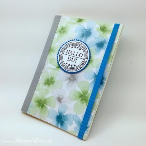 Stampin Up - Stempelherz - Notizbuch - Designerpapier Farbenwunder - Notizbuch Hallo Du 01