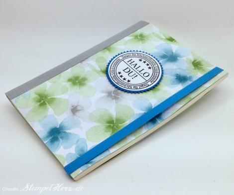 Stampin Up - Stempelherz - Notizbuch - Designerpapier Farbenwunder - Notizbuch Hallo Du 02