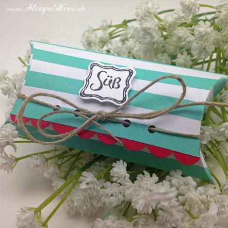 Stampin Up - Stempelherz - Pillow Box - Verpackung - Frisch & Farbenfroh - Wellenkantenstanze - Klein, aber fein - Pillowbox Sweet 01
