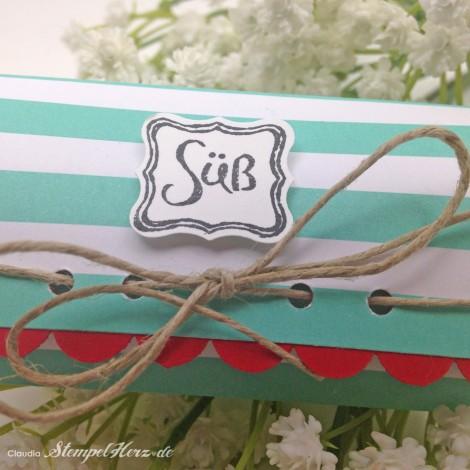 Stampin Up - Stempelherz - Pillow Box - Verpackung - Frisch & Farbenfroh - Wellenkantenstanze - Klein, aber fein - Pillowbox Sweet 03