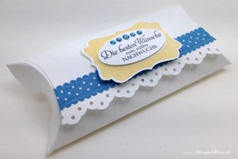 Stampin Up - Stempelherz - Pillowbox - Baby - Verpackung - Box - Das schoenste Geschenk - Pillowbox Die besten Wuensche zum suessen Nachwuchs 01