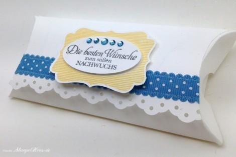 Stampin Up - Stempelherz - Pillowbox - Baby - Verpackung - Box - Das schoenste Geschenk - Pillowbox Die besten Wuensche zum suessen Nachwuchs 02