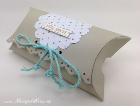 Stampin Up - Stempelherz - Pillowbox - Verpackung - Famose Faehnchen - Wellenkreisstanze - Framelits Famose Faehnchen - Pillowbox Fuer Dich 02