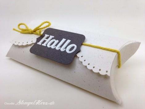 Stampin Up - Stempelherz - Pillowbox - Verpackung - Gastfreundlich - Framelits Tafelrunde - Pillowbox Hallo 01