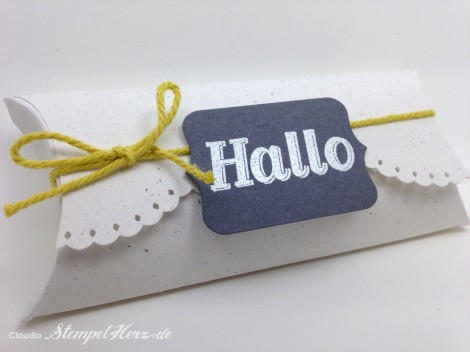 Stampin Up - Stempelherz - Pillowbox - Verpackung - Gastfreundlich - Framelits Tafelrunde - Pillowbox Hallo 02