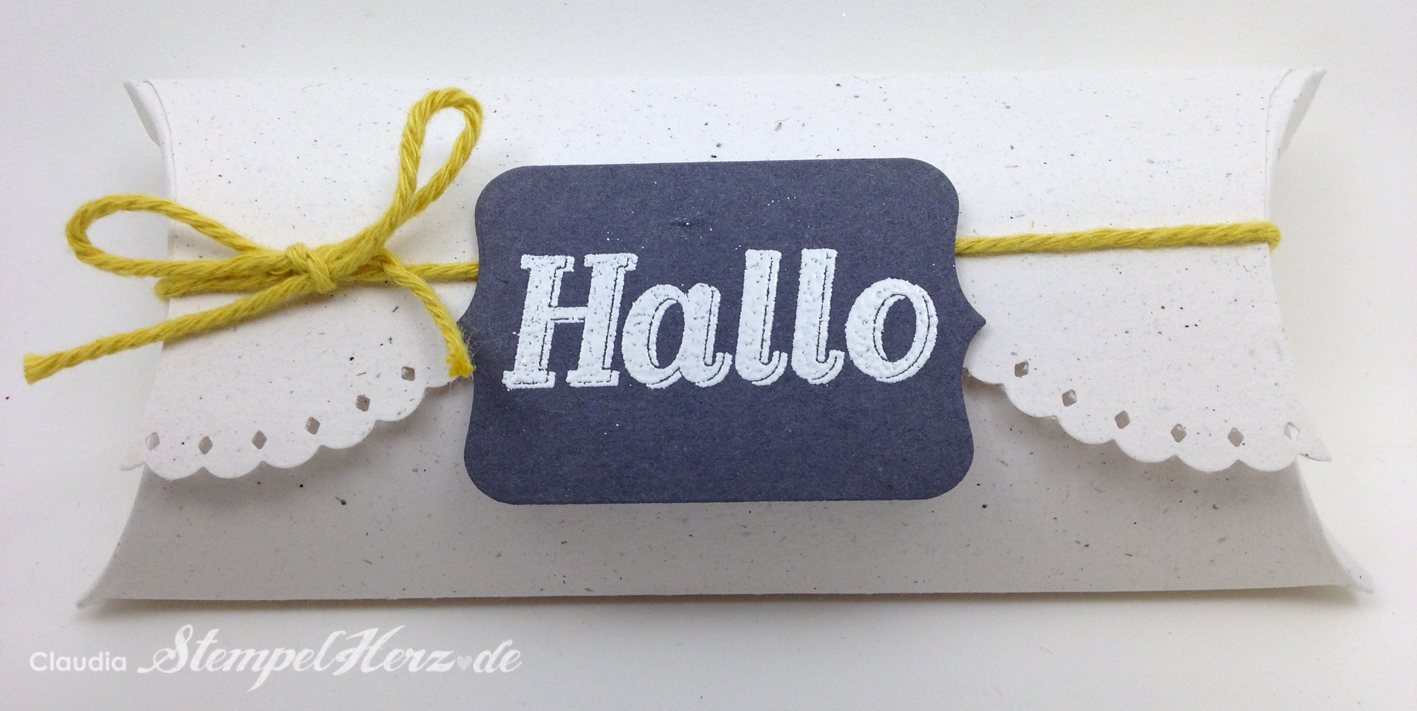 "Pillow Box ""Hallo"""