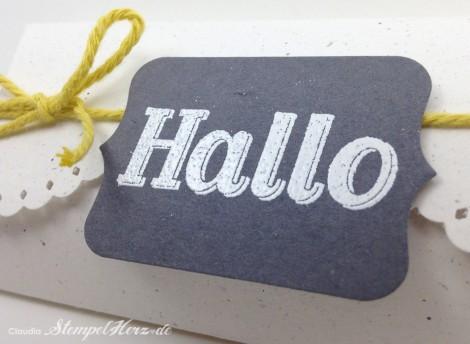Stampin Up - Stempelherz - Pillowbox - Verpackung - Gastfreundlich - Framelits Tafelrunde - Pillowbox Hallo 04