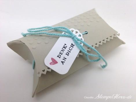 Stampin Up - Stempelherz - Pillowbox - Verpackung - Praegeform Dekorative Akzente - Etwas ganz Besonderes - Pillowbox Denk an dich 02