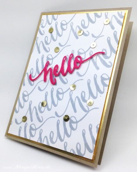 Stempelherz - Pailletten - Grußkarte Hello 01