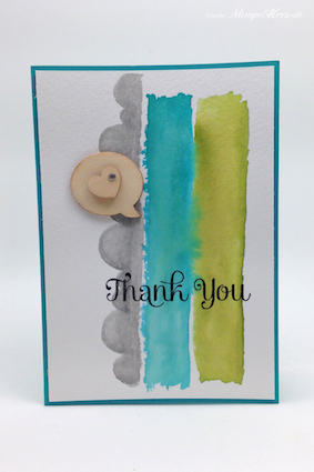 Stampin Up - Stempelherz - Dankeskarte - Aquarelltechnik - Four You - Thank You - Holzelemente 01