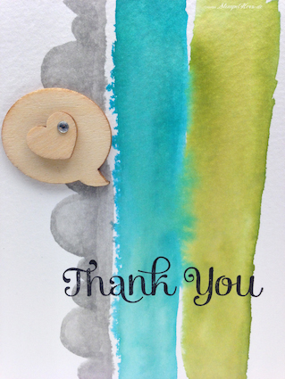 Stampin Up - Stempelherz - Dankeskarte - Aquarelltechnik - Four You - Thank You - Holzelemente 03