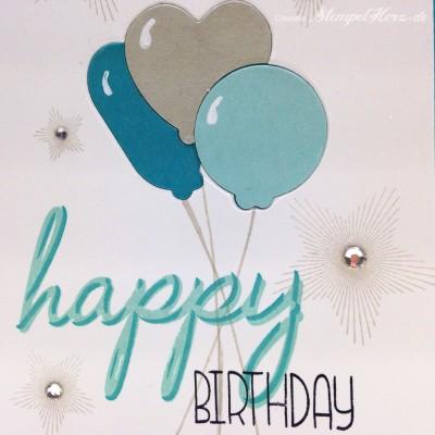 Stempelherz - Geburtstagskarte - Luftballons - Sterne - Geburtstagskarte Luftballons 02